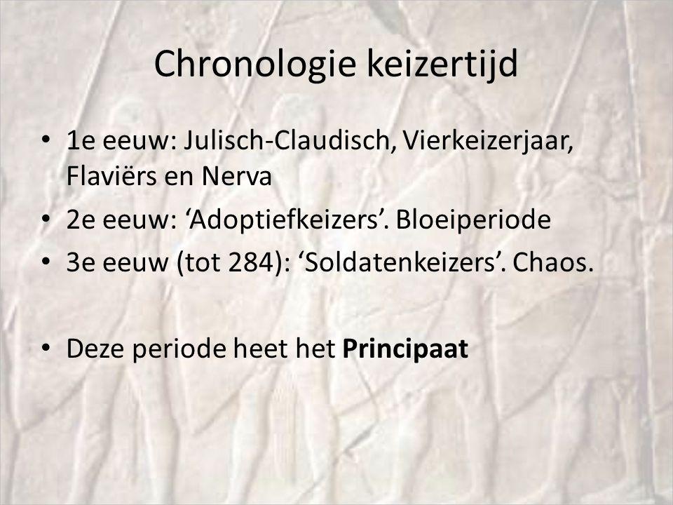 Chronologie keizertijd 1e eeuw: Julisch-Claudisch, Vierkeizerjaar, Flaviërs en Nerva 2e eeuw: 'Adoptiefkeizers'. Bloeiperiode 3e eeuw (tot 284): 'Sold