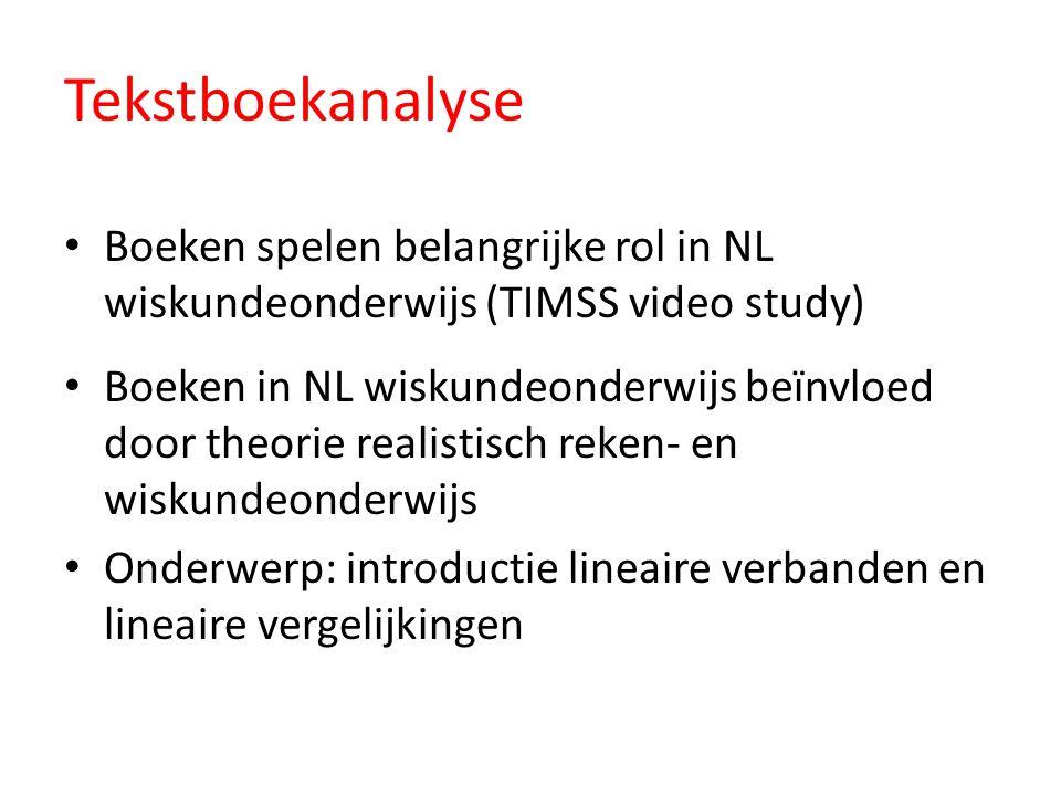 Tekstboekanalyse Boeken spelen belangrijke rol in NL wiskundeonderwijs (TIMSS video study) Boeken in NL wiskundeonderwijs beïnvloed door theorie reali