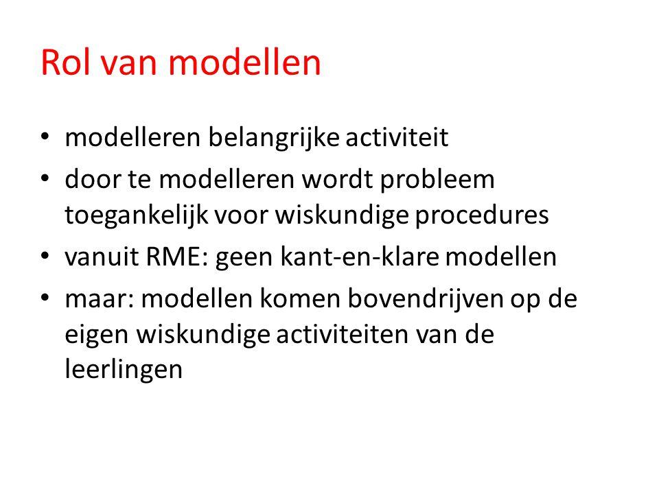 Rol van modellen modelleren belangrijke activiteit door te modelleren wordt probleem toegankelijk voor wiskundige procedures vanuit RME: geen kant-en-