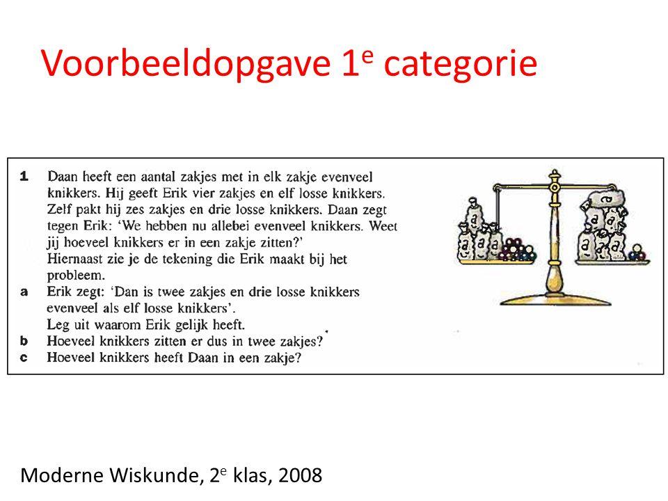 Voorbeeldopgave 1 e categorie Moderne Wiskunde, 2 e klas, 2008