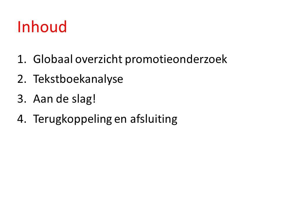 Inhoud 1.Globaal overzicht promotieonderzoek 2.Tekstboekanalyse 3.Aan de slag! 4.Terugkoppeling en afsluiting