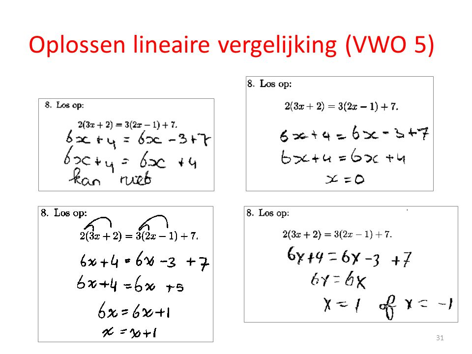 Oplossen lineaire vergelijking (VWO 5) 31