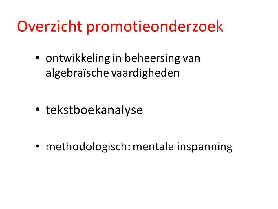 ontwikkeling in beheersing van algebraïsche vaardigheden tekstboekanalyse methodologisch: mentale inspanning Overzicht promotieonderzoek