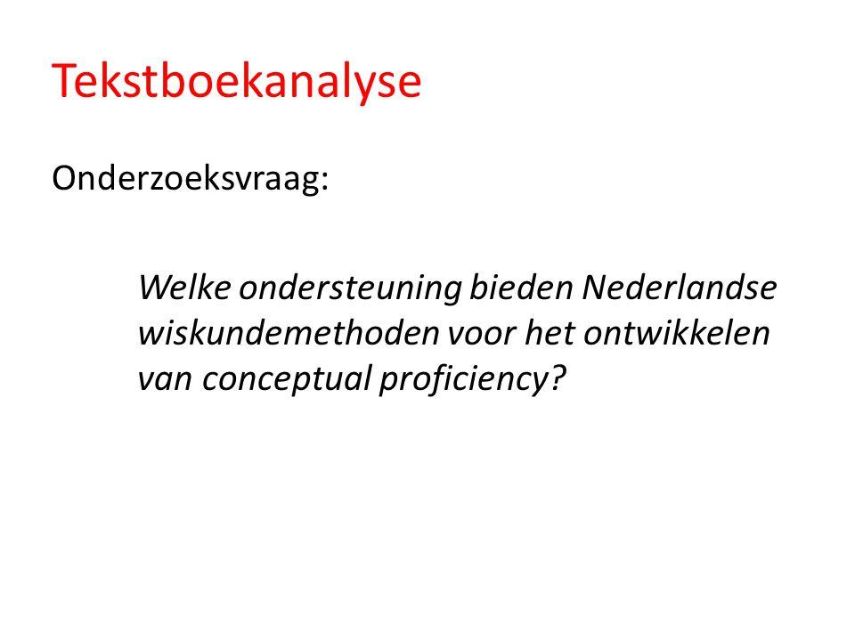 Tekstboekanalyse Onderzoeksvraag: Welke ondersteuning bieden Nederlandse wiskundemethoden voor het ontwikkelen van conceptual proficiency?
