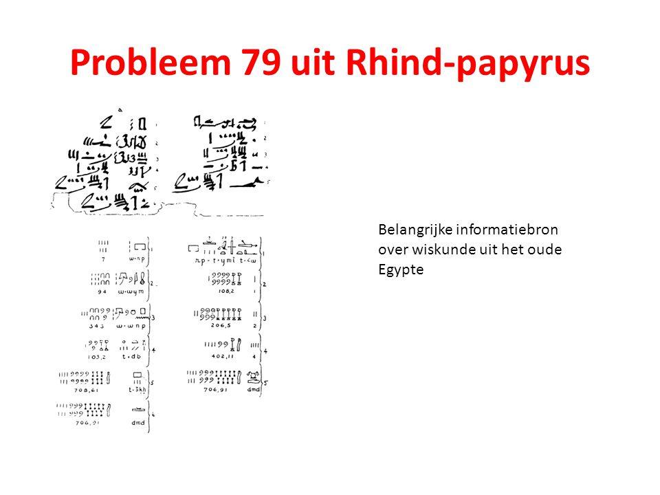 Probleem 79 uit Rhind-papyrus Belangrijke informatiebron over wiskunde uit het oude Egypte