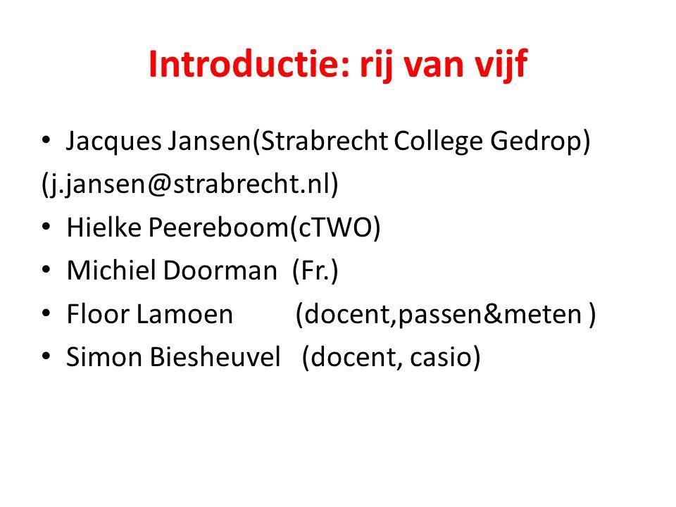 Introductie: rij van vijf Jacques Jansen(Strabrecht College Gedrop) (j.jansen@strabrecht.nl) Hielke Peereboom(cTWO) Michiel Doorman (Fr.) Floor Lamoen