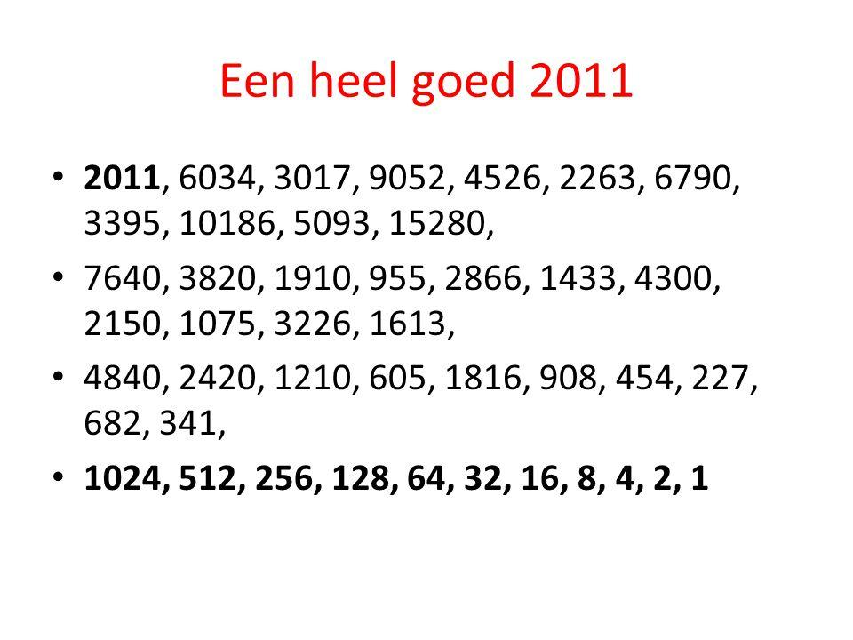 Een heel goed 2011 2011, 6034, 3017, 9052, 4526, 2263, 6790, 3395, 10186, 5093, 15280, 7640, 3820, 1910, 955, 2866, 1433, 4300, 2150, 1075, 3226, 1613