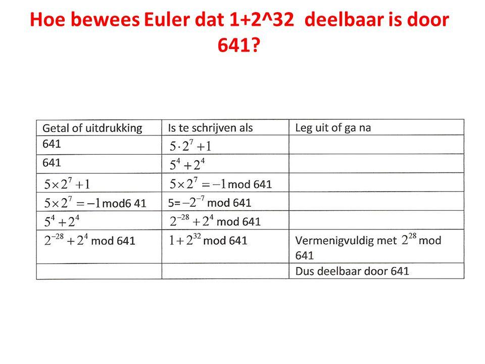 Hoe bewees Euler dat 1+2^32 deelbaar is door 641?
