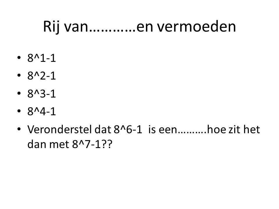 Rij van…………en vermoeden 8^1-1 8^2-1 8^3-1 8^4-1 Veronderstel dat 8^6-1 is een……….hoe zit het dan met 8^7-1??