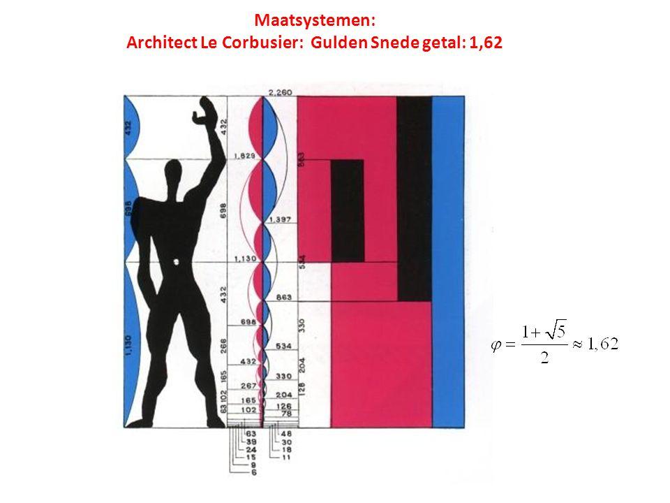 Maatsystemen: Architect Le Corbusier: Gulden Snede getal: 1,62