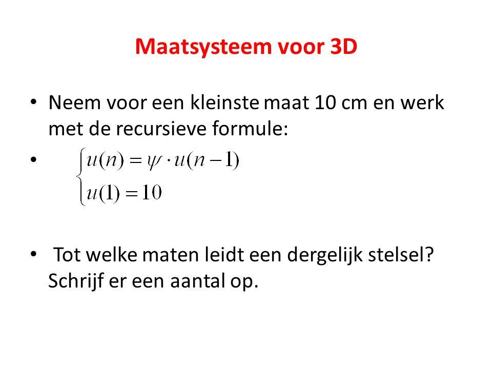 Maatsysteem voor 3D Neem voor een kleinste maat 10 cm en werk met de recursieve formule: Tot welke maten leidt een dergelijk stelsel? Schrijf er een a
