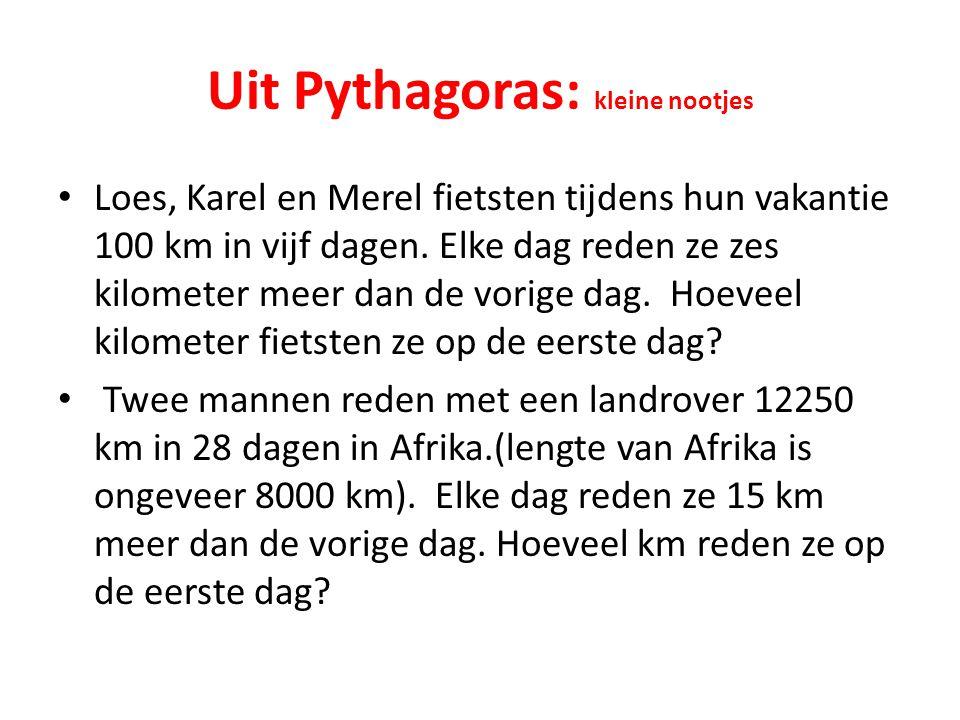 Uit Pythagoras: kleine nootjes Loes, Karel en Merel fietsten tijdens hun vakantie 100 km in vijf dagen. Elke dag reden ze zes kilometer meer dan de vo