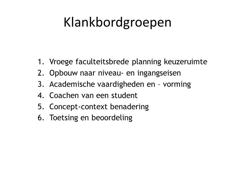 Klankbordgroepen 1.Vroege faculteitsbrede planning keuzeruimte 2.Opbouw naar niveau- en ingangseisen 3.Academische vaardigheden en – vorming 4.Coachen