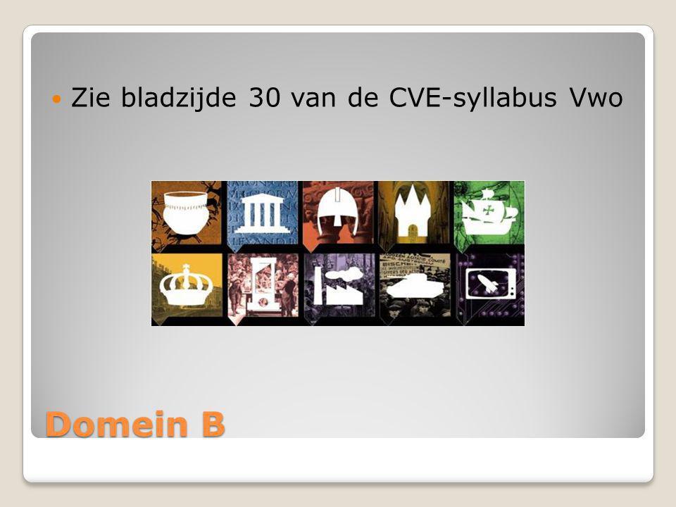 Domein B Zie bladzijde 30 van de CVE-syllabus Vwo