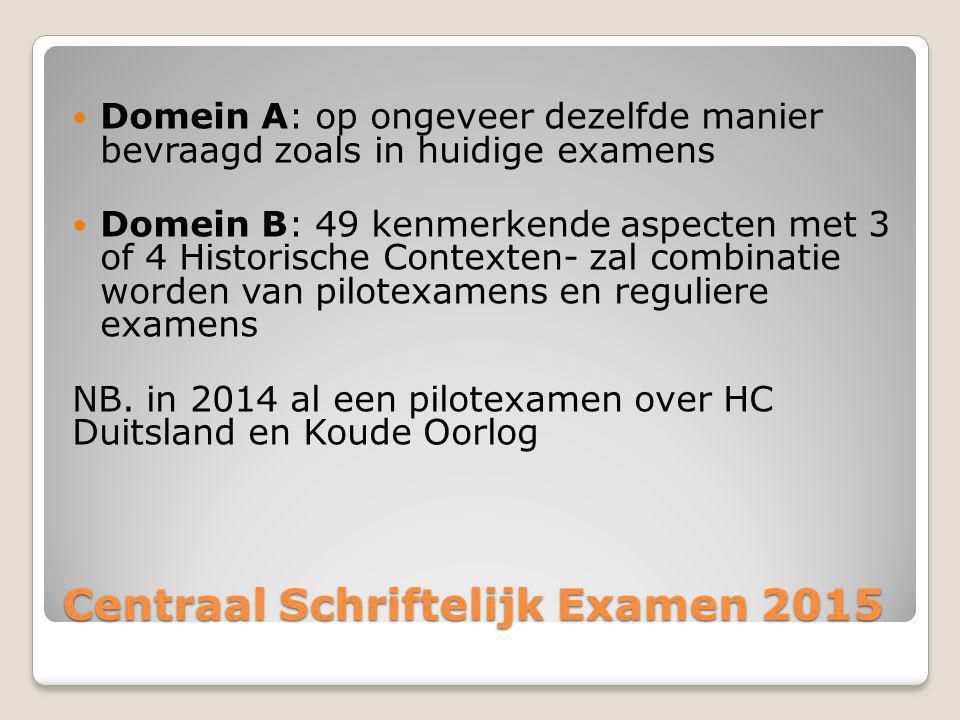 Centraal Schriftelijk Examen 2015 Domein A: op ongeveer dezelfde manier bevraagd zoals in huidige examens Domein B: 49 kenmerkende aspecten met 3 of 4