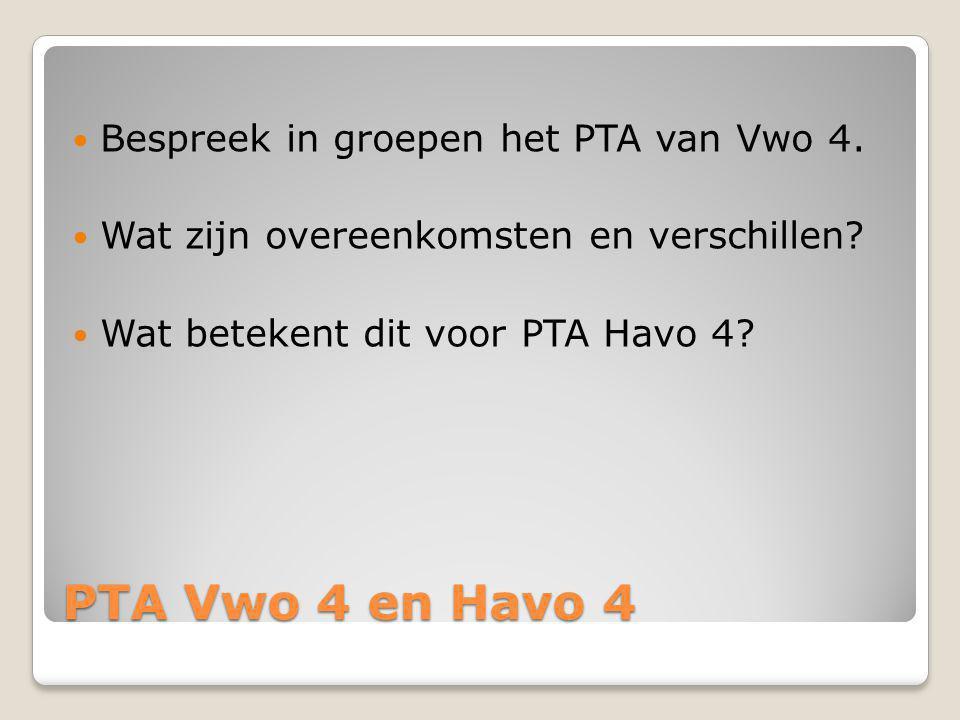 PTA Vwo 4 en Havo 4 Bespreek in groepen het PTA van Vwo 4. Wat zijn overeenkomsten en verschillen? Wat betekent dit voor PTA Havo 4?