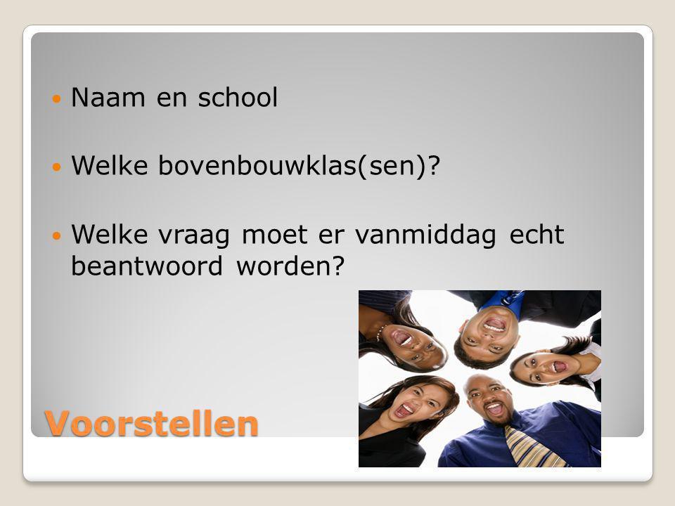 Voorstellen Naam en school Welke bovenbouwklas(sen)? Welke vraag moet er vanmiddag echt beantwoord worden?