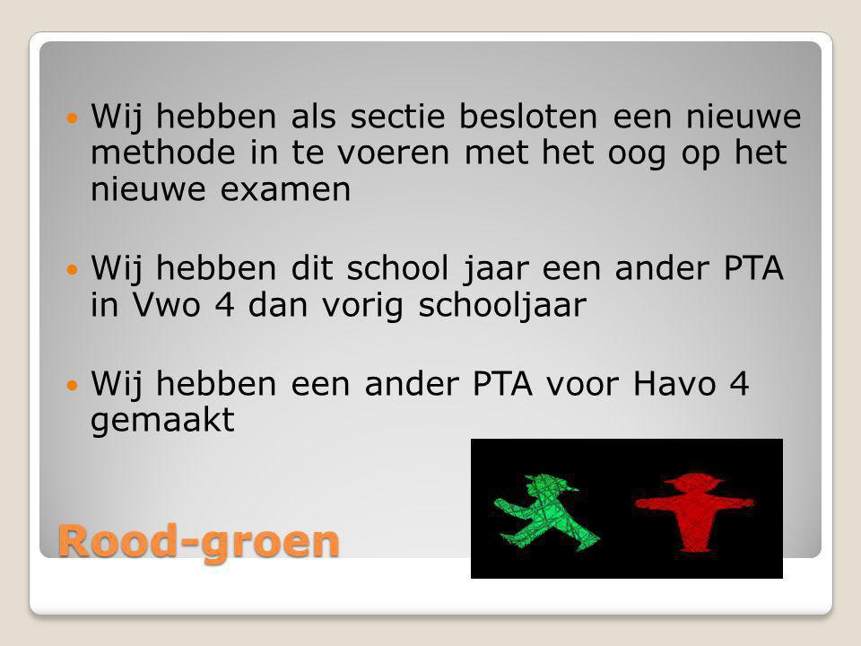 Rood-groen Wij hebben als sectie besloten een nieuwe methode in te voeren met het oog op het nieuwe examen Wij hebben dit school jaar een ander PTA in