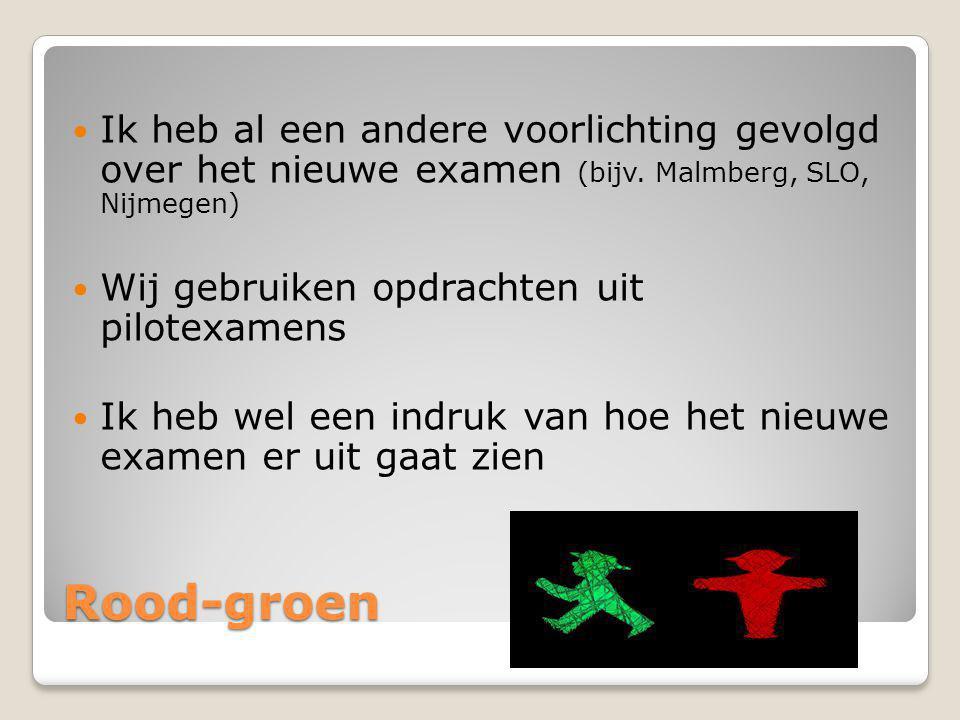 Rood-groen Ik heb al een andere voorlichting gevolgd over het nieuwe examen (bijv. Malmberg, SLO, Nijmegen) Wij gebruiken opdrachten uit pilotexamens