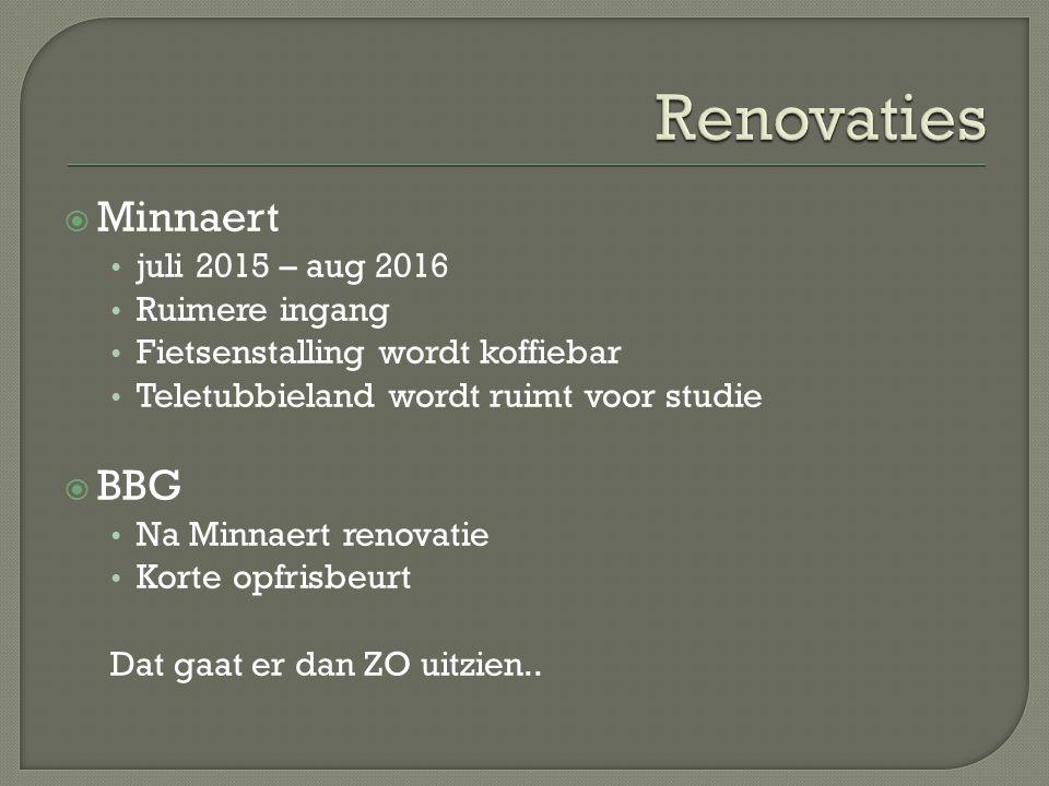  Minnaert juli 2015 – aug 2016 Ruimere ingang Fietsenstalling wordt koffiebar Teletubbieland wordt ruimt voor studie  BBG Na Minnaert renovatie Korte opfrisbeurt Dat gaat er dan ZO uitzien..