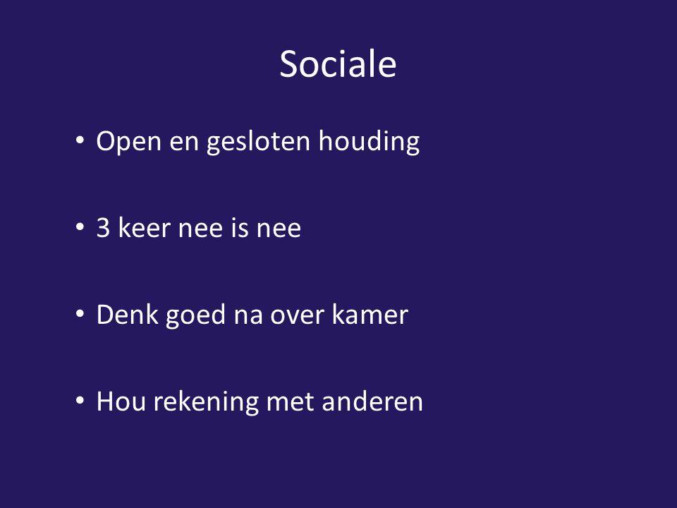 Sociale Open en gesloten houding 3 keer nee is nee Denk goed na over kamer Hou rekening met anderen