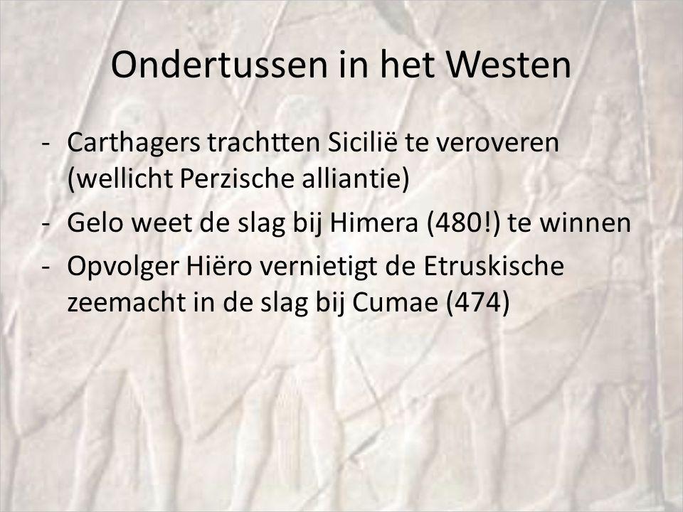 Ondertussen in het Westen -Carthagers trachtten Sicilië te veroveren (wellicht Perzische alliantie) -Gelo weet de slag bij Himera (480!) te winnen -Op