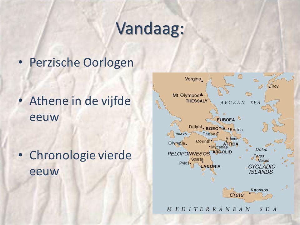 Vandaag: Perzische Oorlogen Athene in de vijfde eeuw Chronologie vierde eeuw