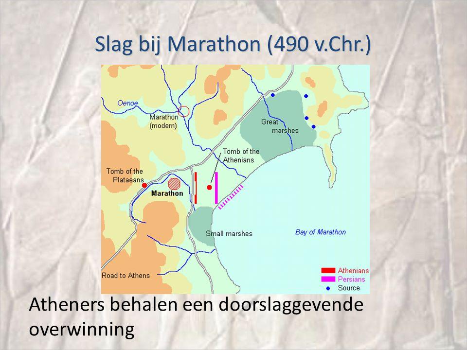 Slag bij Marathon (490 v.Chr.) Atheners behalen een doorslaggevende overwinning