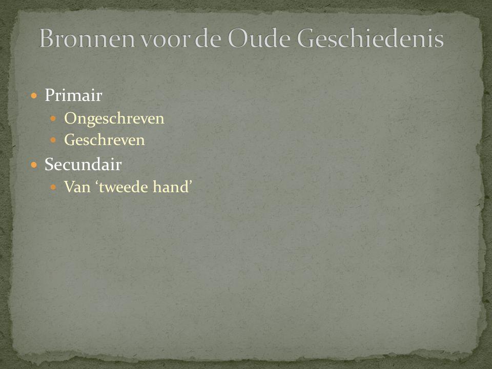 Ongeschreven bronnen Natuurlijke Archeologische Geschreven bronnen Literaire teksten (historiografie, poëzie, biografie).