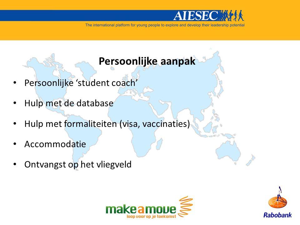 Persoonlijke aanpak Persoonlijke 'student coach' Hulp met de database Hulp met formaliteiten (visa, vaccinaties) Accommodatie Ontvangst op het vliegveld