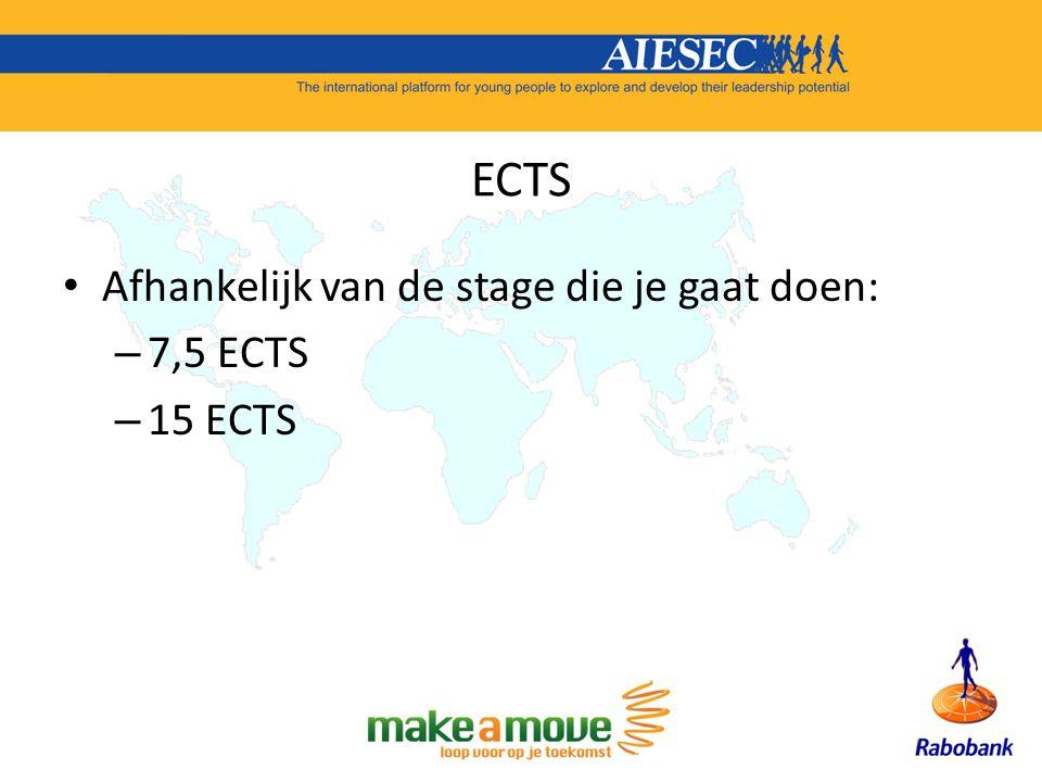 ECTS Afhankelijk van de stage die je gaat doen: – 7,5 ECTS – 15 ECTS