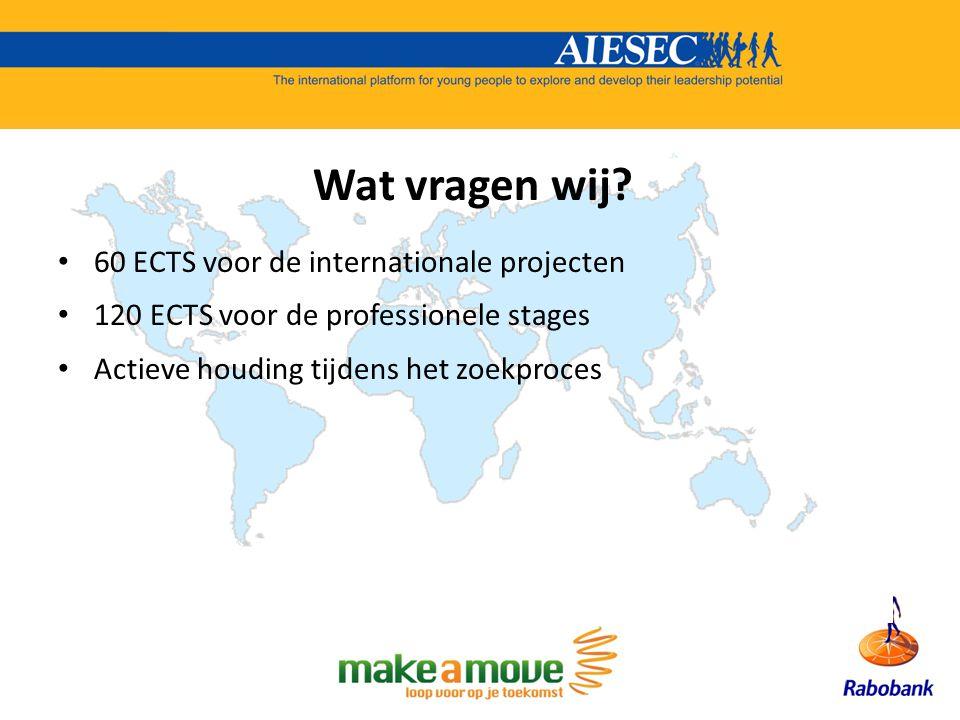 60 ECTS voor de internationale projecten 120 ECTS voor de professionele stages Actieve houding tijdens het zoekproces Wat vragen wij