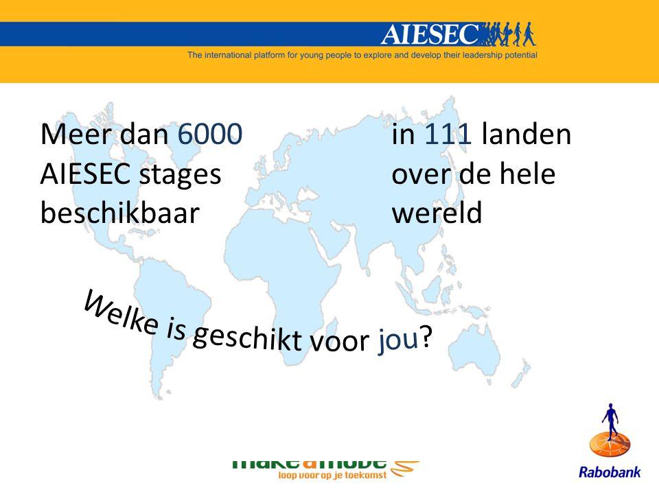 Meer dan 6000 AIESEC stages beschikbaar in 111 landen over de hele wereld