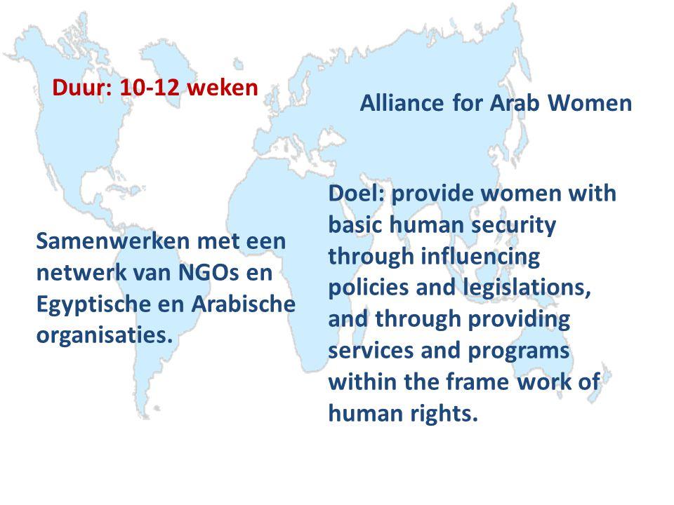 Duur: 10-12 weken Alliance for Arab Women Samenwerken met een netwerk van NGOs en Egyptische en Arabische organisaties.