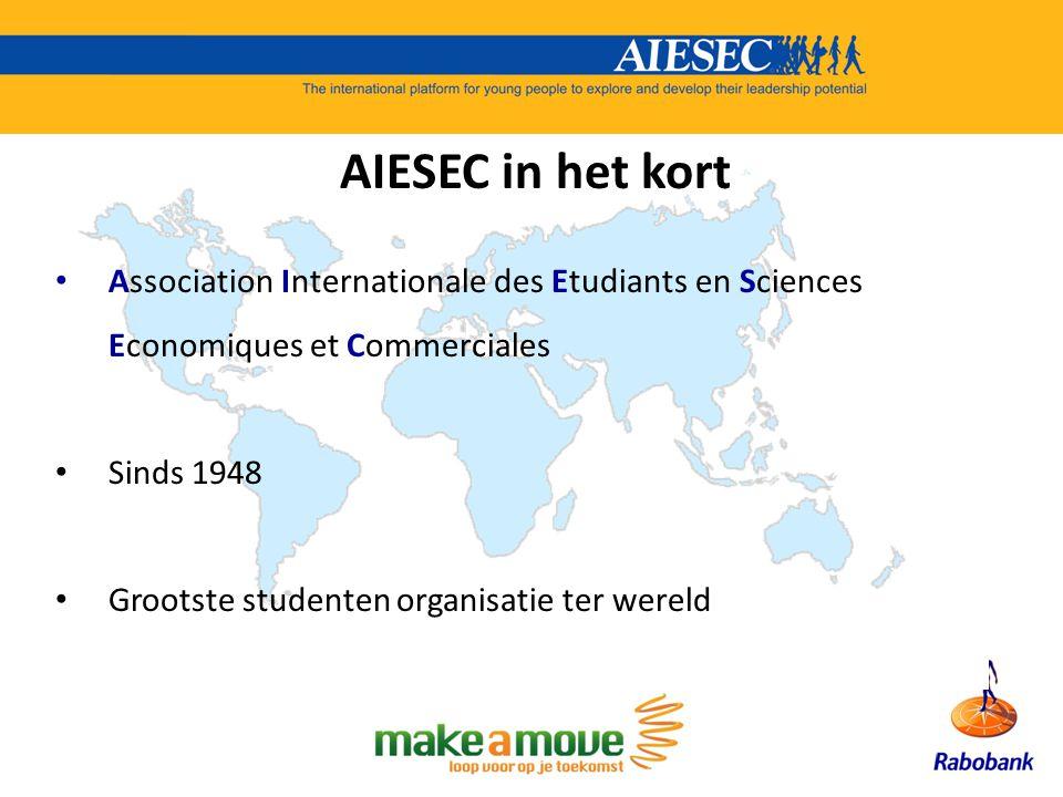 AIESEC in het kort Association Internationale des Etudiants en Sciences Economiques et Commerciales Sinds 1948 Grootste studenten organisatie ter were