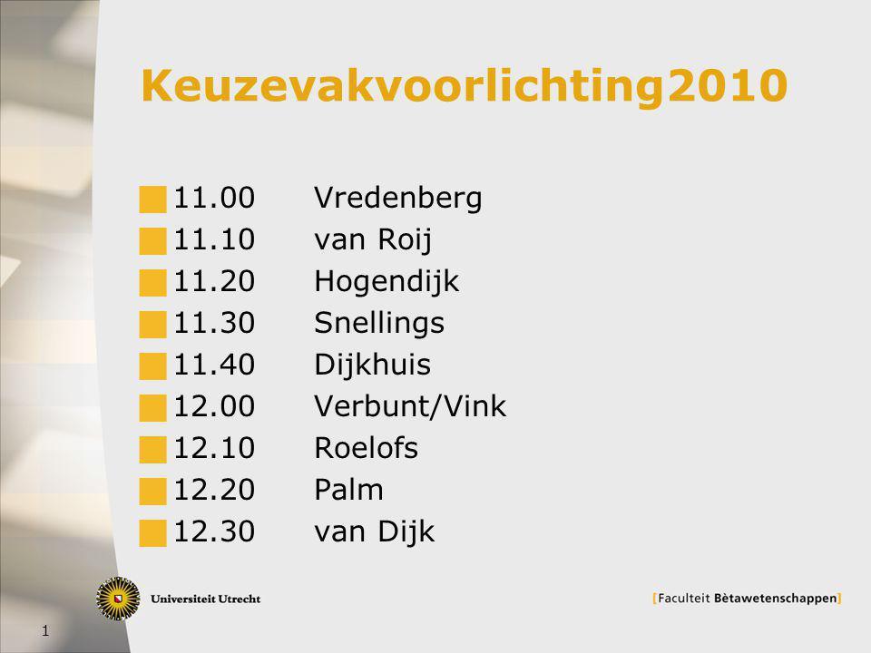 1 Keuzevakvoorlichting2010  11.00Vredenberg  11.10van Roij  11.20Hogendijk  11.30Snellings  11.40Dijkhuis  12.00Verbunt/Vink  12.10Roelofs  12.20 Palm  12.30van Dijk