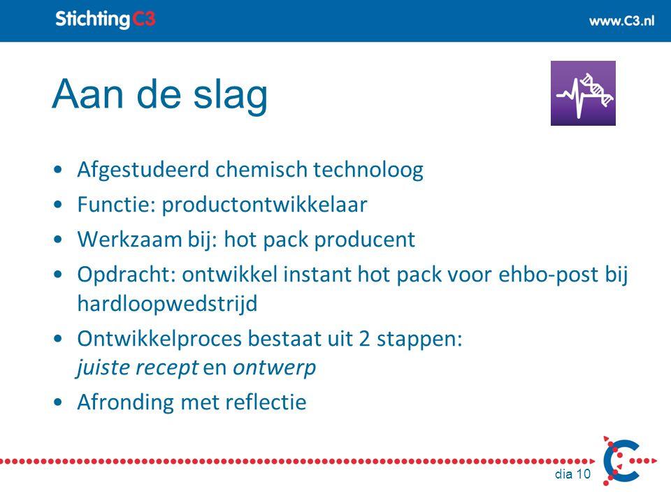 Aan de slag Afgestudeerd chemisch technoloog Functie: productontwikkelaar Werkzaam bij: hot pack producent Opdracht: ontwikkel instant hot pack voor e