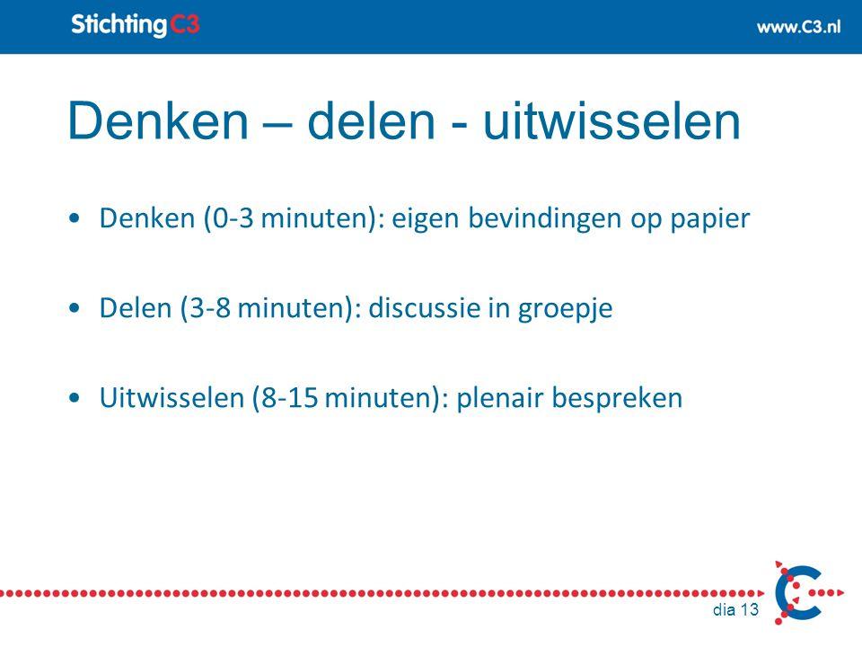 Denken – delen - uitwisselen Denken (0-3 minuten): eigen bevindingen op papier Delen (3-8 minuten): discussie in groepje Uitwisselen (8-15 minuten): p