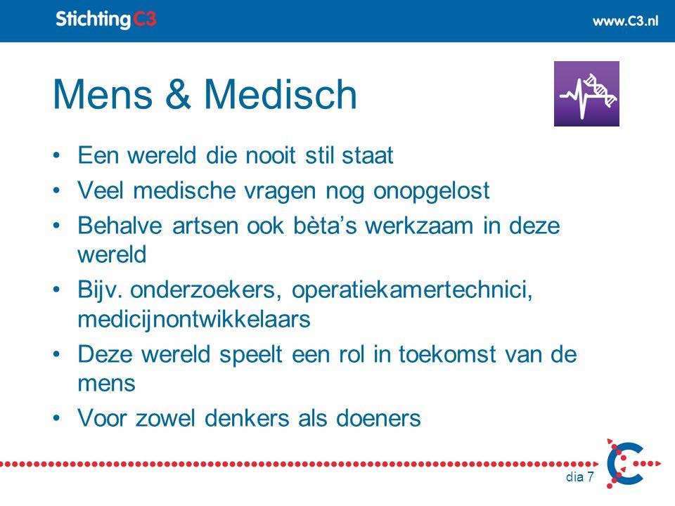 Mens & Medisch Een wereld die nooit stil staat Veel medische vragen nog onopgelost Behalve artsen ook bèta's werkzaam in deze wereld Bijv. onderzoeker