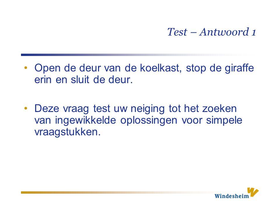 Test – Antwoord 1 Open de deur van de koelkast, stop de giraffe erin en sluit de deur. Deze vraag test uw neiging tot het zoeken van ingewikkelde oplo