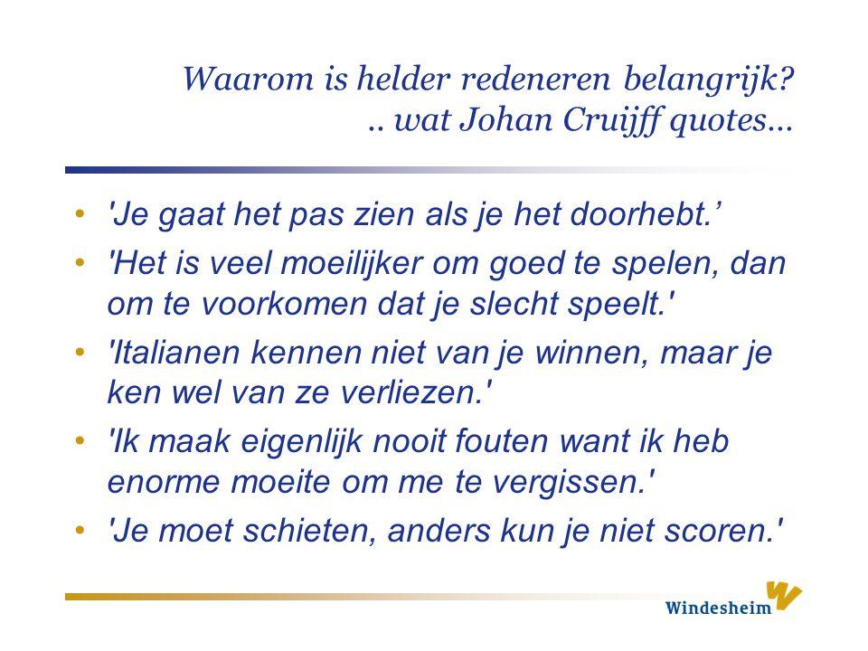 Waarom is helder redeneren belangrijk?.. wat Johan Cruijff quotes… 'Je gaat het pas zien als je het doorhebt.' 'Het is veel moeilijker om goed te spel
