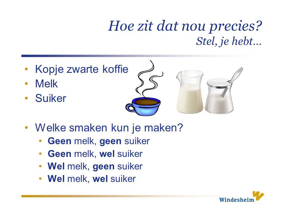 Hoe zit dat nou precies? Stel, je hebt… Kopje zwarte koffie Melk Suiker Welke smaken kun je maken? Geen melk, geen suiker Geen melk, wel suiker Wel me