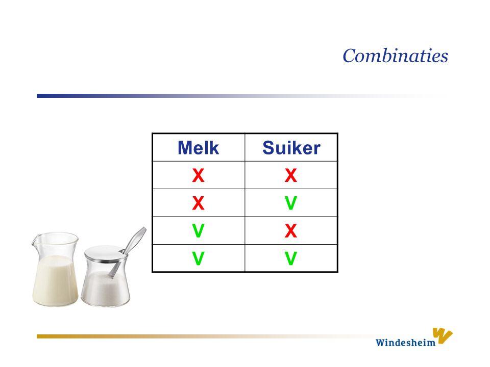 Combinaties MelkSuiker XX XV VX VV