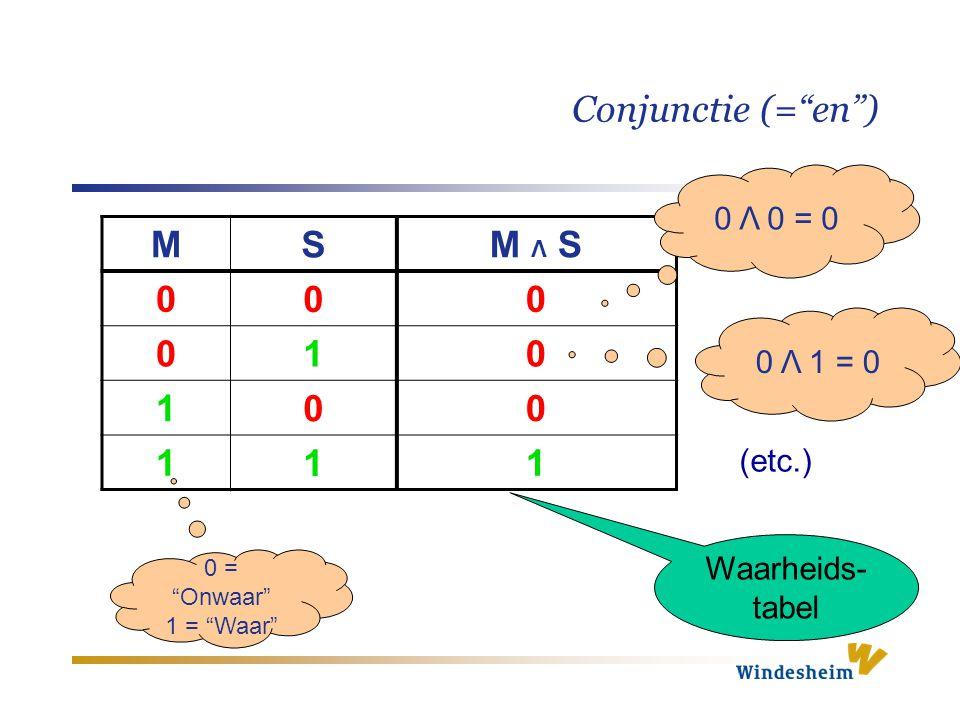 """Conjunctie (=""""en"""") M S M Λ S 0 0 0 0 1 0 1 0 0 1 1 1 Waarheids- tabel 0 Λ 0 = 0 0 Λ 1 = 0 (etc.) 0 = """"Onwaar"""" 1 = """"Waar"""""""
