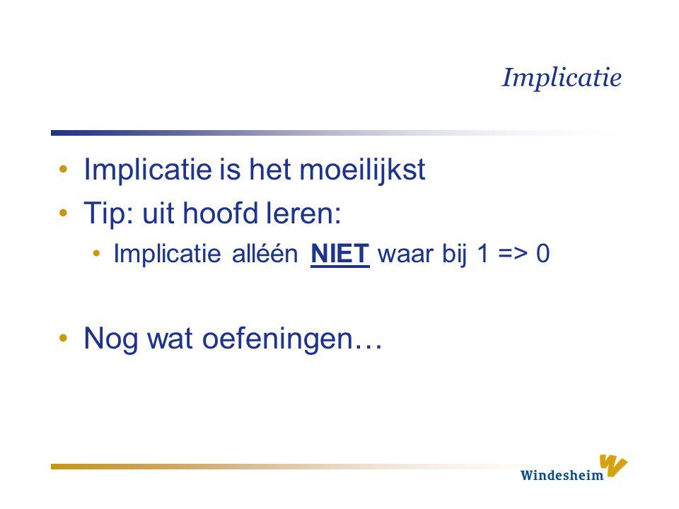 Implicatie Implicatie is het moeilijkst Tip: uit hoofd leren: Implicatie alléén NIET waar bij 1 => 0 Nog wat oefeningen…