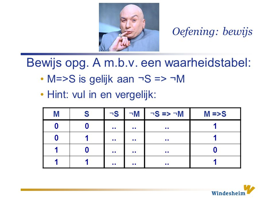 Oefening: bewijs Bewijs opg.A m.b.v.