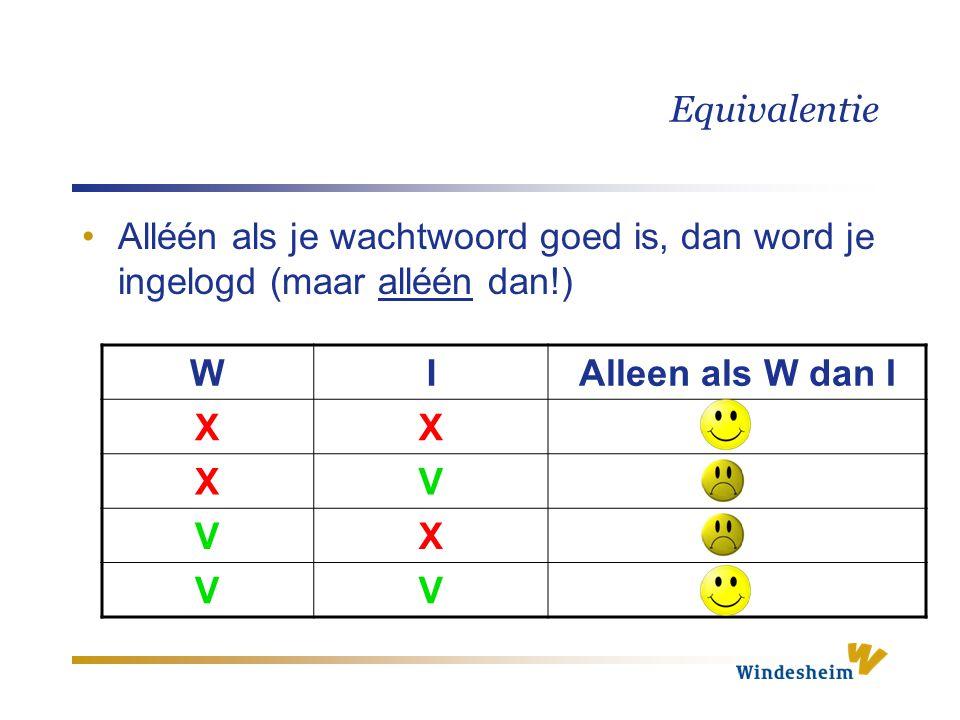 Equivalentie WIAlleen als W dan I XX XV VX VV Alléén als je wachtwoord goed is, dan word je ingelogd (maar alléén dan!)