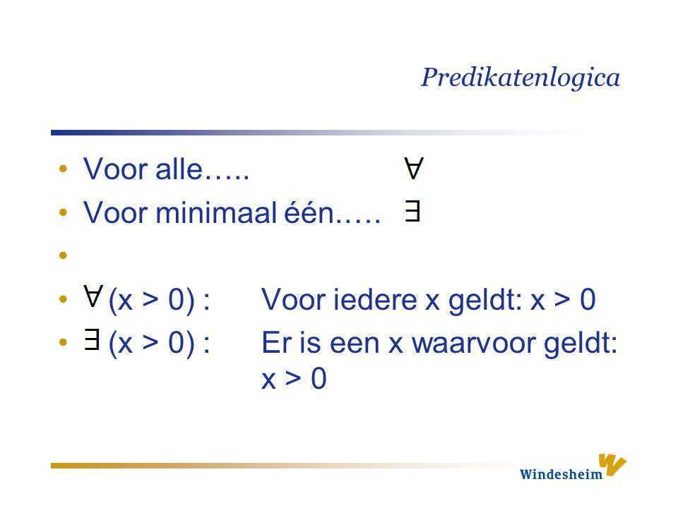 Predikatenlogica Voor alle….. Voor minimaal één.…. (x > 0) :Voor iedere x geldt: x > 0 (x > 0) :Er is een x waarvoor geldt: x > 0