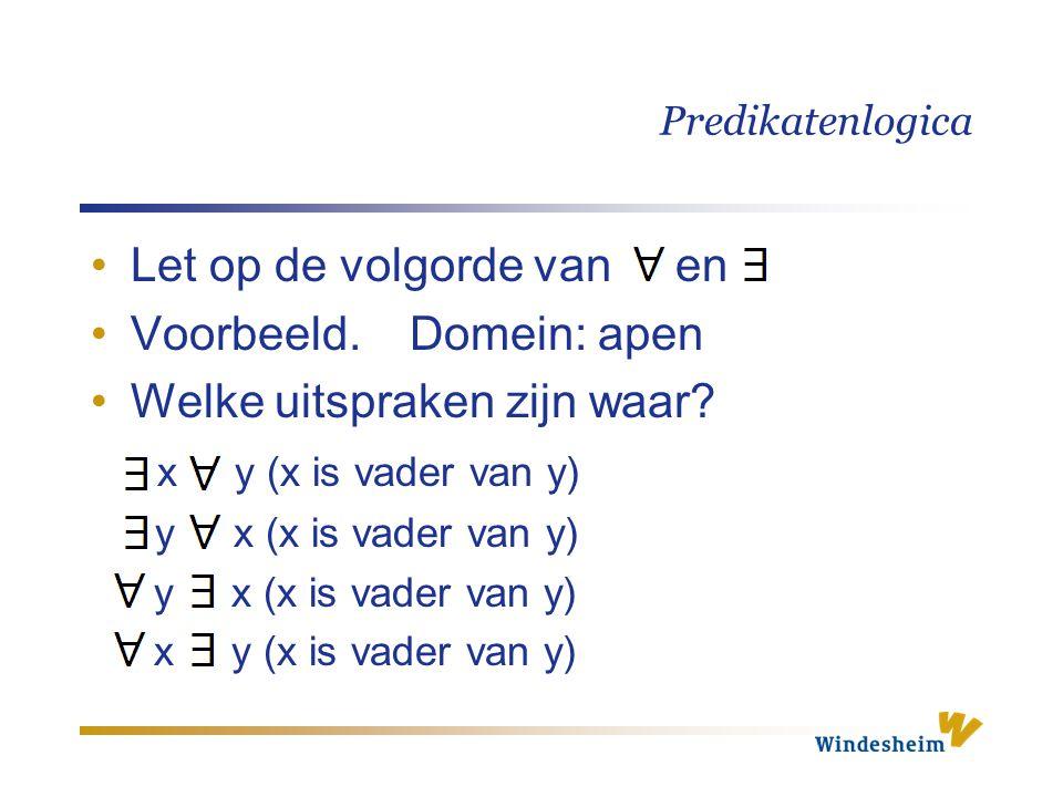 Predikatenlogica Let op de volgorde van en Voorbeeld. Domein: apen Welke uitspraken zijn waar? x y (x is vader van y) y x (x is vader van y) x y (x is
