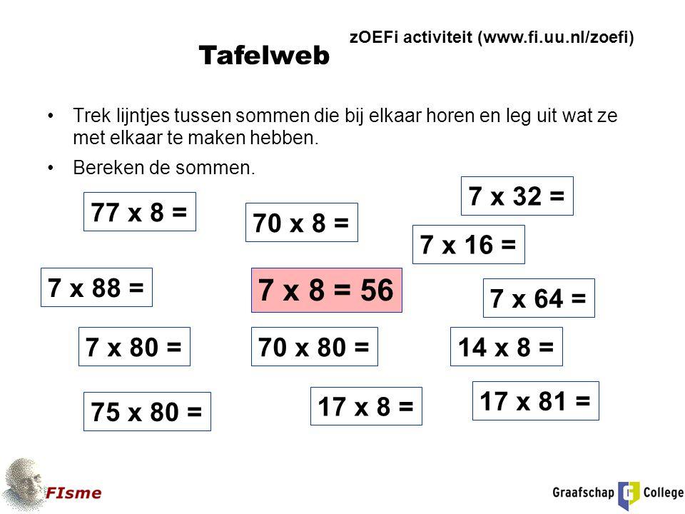 Trek lijntjes tussen sommen die bij elkaar horen en leg uit wat ze met elkaar te maken hebben. Bereken de sommen. 7 x 8 = 56 70 x 8 = 7 x 64 = 17 x 81